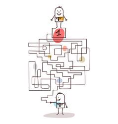 Cartoon businessman with maze and leadership vector