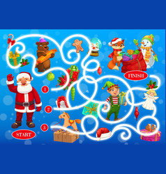 Christmas labyrinth maze with fairytale characters vector