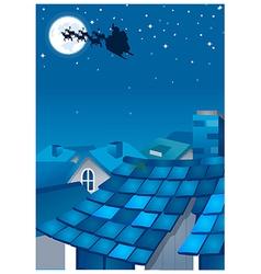 Christmas Reindeer Over Houses vector image