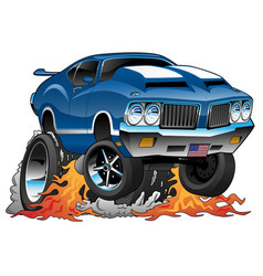 Classic seventies american muscle car cartoon vector