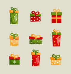 colorful christmas present boxes set vector image