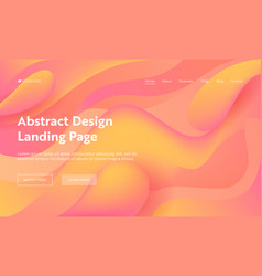 coral abstract wave shape landing page background vector image