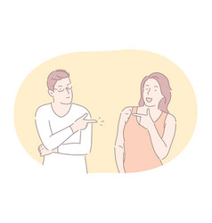 Couple expressing positive dispute and vector