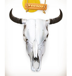 Cow skull Western adventure 3d icon vector