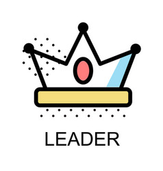 crown icon for leader on white background vector image