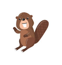 Cute beaver woodland cartoon animal vector