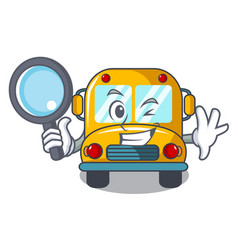Detective school bus character cartoon vector