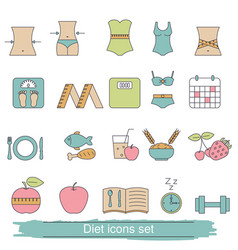diet icons set diet icons set vector image