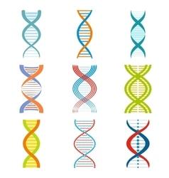 dna and molecule symbols set vector image