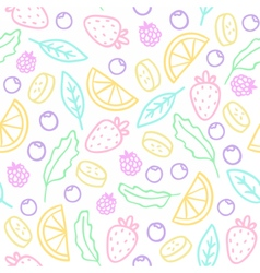 Doodle fruits berries leafs Seamless pattern vector