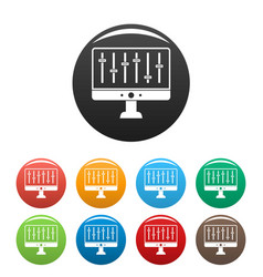 equalizer monitor icons set color vector image