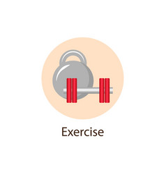 exercise sport round flat icon wellness concept vector image