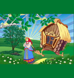 Fairy landscape-the princess and the hut on vector