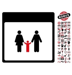 Family Calendar Page Flat Icon With Bonus vector