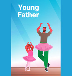 Father and daughter in pink skirts dancing like vector
