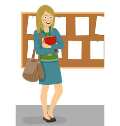Female student standing next to bulletin board vector