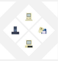 Flat icon computer set of processor computer vector