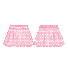 Front and back view a flared skirt vector