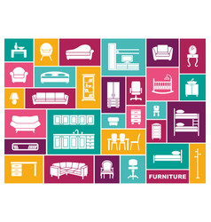 furniture icon set in flat style vector image
