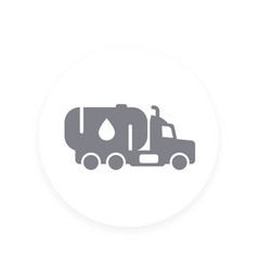 gasoline tanker truck with petroleum icon vector image
