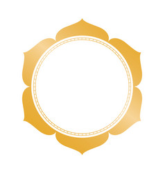 Golden circle frame with decorative leaves vector