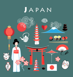 graphic set japan vector image