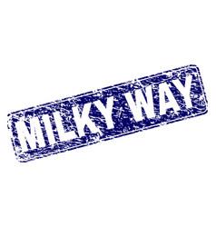 Grunge milky way framed rounded rectangle stamp vector