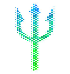 Halftone blue-green trident fork icon vector