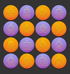 halloween pumpkin emboss thin line icon set vector image