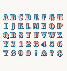 hand drawn bold retro alphabet vector image