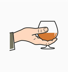 hand hold cognac male hand holding brandy glass vector image