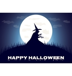Happy Halloween poster scary on blue background vector image