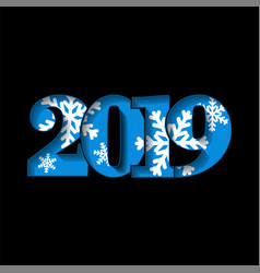 happy new year card blue 3d number 2019 with vector image
