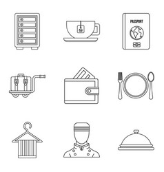 Hotel business plan icons set outline style vector