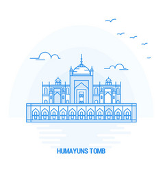 Humayuns tomb blue landmark creative background vector