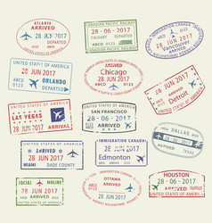 Icons travel city passport stamp usa canada vector