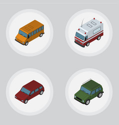 isometric automobile set of car first-aid vector image