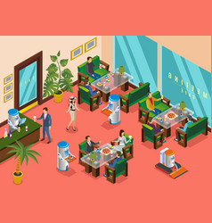 isometric colored robotic restaurant composition vector image