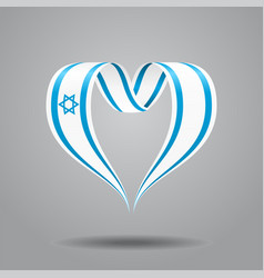 Israeli flag heart-shaped ribbon vector
