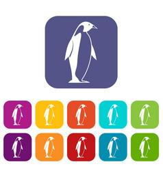 King penguin icons set flat vector