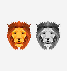 lion head color and grayscale low vector image