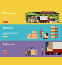 logistic warehouse horizontal banners logistic vector image