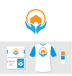 Logo design with business card and t shirt mockup vector