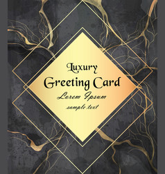 Luxury greeting card with golden frame on black vector
