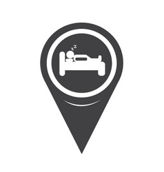 Map pointer sleep hotel icon vector