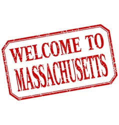 Massachusetts - welcome red vintage isolated label vector