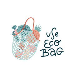 mesh shopping bag filled out with fresh vector image