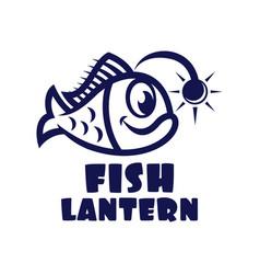 modern fish lantern logo vector image