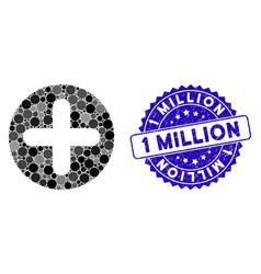 Mosaic create icon with grunge 1 million seal vector