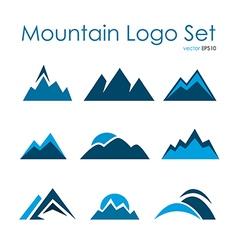 Mountain logo set rocky terrain nature landscape vector